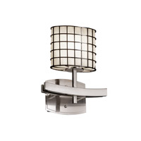 Wire Glass 1 Light 9 inch Brushed Nickel Wall Sconce Wall Light in Grid with Opal, Oval