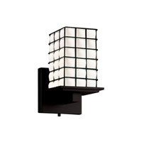 Montana 1 Light 5 inch Matte Black Wall Sconce Wall Light in Grid with Opal