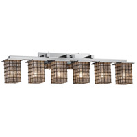 Montana 6 Light 45 inch Polished Chrome Vanity Light Wall Light in Grid with Clear Bubbles