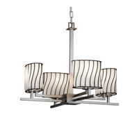 Justice Design Wire Glass Aero 4-Light Chandelier in Brushed Nickel WGL-8700-30-SWOP-NCKL
