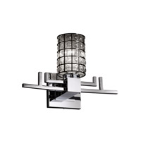 Wire Glass 1 Light 14 inch Polished Chrome Wall Sconce Wall Light in Grid with Clear Bubbles, Cylinder with Flat Rim
