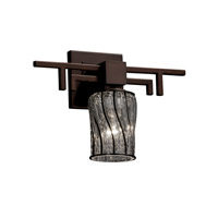 Wire Glass 1 Light 14 inch Dark Bronze Wall Sconce Wall Light in Swirl with Clear Bubbles, Cylinder with Flat Rim