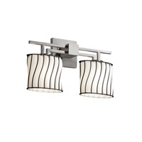 Justice Design Wire Glass Aero 2-Light Bath Bar in Brushed Nickel WGL-8702-30-SWOP-NCKL
