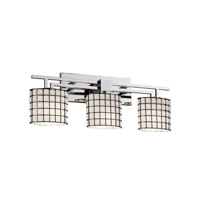 Wire Glass 3 Light 26 inch Polished Chrome Bath Bar Wall Light in Grid with Opal, Oval