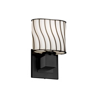 Wire Glass 1 Light 7 inch Matte Black ADA Wall Sconce Wall Light in Swirl with Opal