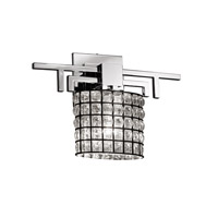 Wire Glass 1 Light 14 inch Polished Chrome ADA Wall Sconce Wall Light in Grid with Clear Bubbles