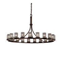 Justice Design Wire Glass Dakota 21-Light 1-Tier Ring Chandelier in Dark Bronze WGL-8716-10-GRCB-DBRZ