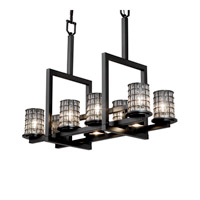 Justice Design Wire Glass Dakota 8-Up & 3-Downlight Bridge Chandelier in Matte Black WGL-8718-10-GRCB-MBLK