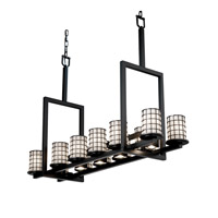 Justice Design Wire Glass Dakota 12-Up & 5-Downlight Bridge Chandelier (Tall) in Matte Black WGL-8719-10-GROP-MBLK