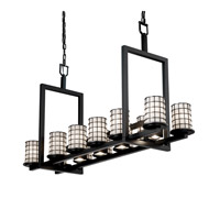 Justice Design Wire Glass Dakota 12-Up & 5-Downlight Bridge Chandelier (Short) in Matte Black WGL-8720-10-GROP-MBLK