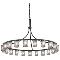 Justice Design WGL-8736-10-GRCB-DBRZ Wire Glass 21 Light 60 inch Dark Bronze Chandelier Ceiling Light in Grid with Clear Bubbles, Incandescent