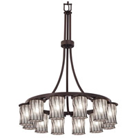 Justice Design WGL-8738-10-GRCB-MBLK Wire Glass 12 Light 28 inch Matte Black Chandelier Ceiling Light in Grid with Clear Bubbles, Incandescent