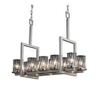 Justice Design Wire Glass Dakota 10-Light Bridge Chandelier in Brushed Nickel WGL-8757-10-SWCB-NCKL