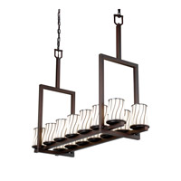 Justice Design Wire Glass Dakota 14-Light Bridge Chandelier (Tall) in Dark Bronze WGL-8764-10-SWOP-DBRZ