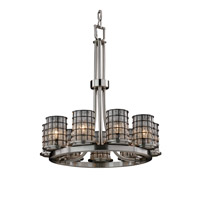 Wire Glass 9 Light 23 inch Brushed Nickel Chandelier Ceiling Light in Grid with Clear Bubbles
