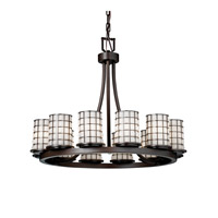 Justice Design WGL-8768-10-GROP-DBRZ Wire Glass 12 Light Dark Bronze Chandelier Ceiling Light in Grid with Opal photo thumbnail