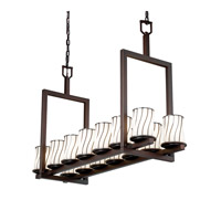 Justice Design Wire Glass Dakota 14-Light Bridge Chandelier (Short) in Dark Bronze WGL-8769-10-SWOP-DBRZ