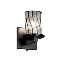 Justice Design Wire Glass Dakota 1-Light Wall Sconce in Matte Black WGL-8771-10-SWCB-MBLK