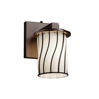 Wire Glass 1 Light 5 inch Dark Bronze Wall Sconce Wall Light in Swirl with Opal