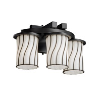 Justice Design Wire Glass Dakota 3-Light Curved-Bar Wall Sconce in Matte Black WGL-8776-10-SWOP-MBLK