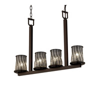 Justice Design Wire Glass Dakota 4-Light Bar Chandelier in Dark Bronze WGL-8778-10-SWCB-DBRZ