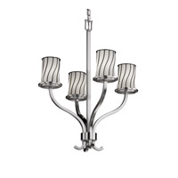Wire Glass 4 Light 22 inch Brushed Nickel Chandelier Ceiling Light in Swirl with Opal
