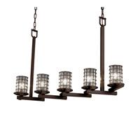 Justice Design Wire Glass Dakota 5-Light Zig-Zag Chandelier in Dark Bronze WGL-8787-10-GRCB-DBRZ