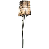 Wire Glass 1 Light 5 inch Polished Chrome Wall Sconce Wall Light in Grid with Clear Bubbles, Square with Flat Rim, Fluorescent