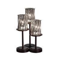 Wire Glass 16 inch 60 watt Dark Bronze Table Lamp Portable Light in Swirl with Clear Bubbles