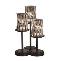Justice Design Wire Glass Dakota 3-Light Table Lamp in Dark Bronze WGL-8797-10-SWCB-DBRZ
