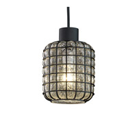 Justice Design WGL-8807-GRCB-CROM-LED1-700 Wire Glass LED 6 inch Polished Chrome Pendant Ceiling Light in 700 Lm LED, Grid with Clear Bubbles