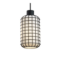 Justice Design WGL-8808-GROP-CROM-LED1-700 Wire Glass LED 6 inch Polished Chrome Pendant Ceiling Light in 700 Lm LED, Grid with Opal