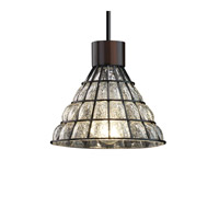 Justice Design WGL-8809-GRCB-CROM-LED1-700 Wire Glass LED 8 inch Polished Chrome Pendant Ceiling Light in 700 Lm LED, Grid with Clear Bubbles