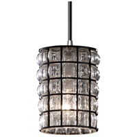Justice Design WGL-8815-10-GRCB-ABRS-LED1-700 Wire Glass LED 4 inch Antique Brass Pendant Ceiling Light in 700 Lm LED, White Cord, Grid with Clear Bubbles