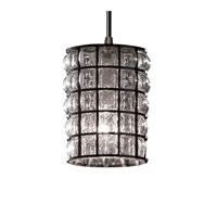 Justice Design Wire Glass Mini 1-Light Pendant in Dark Bronze WGL-8815-10-GRCB-DBRZ
