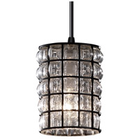 Wire Glass 1 Light 4 inch Matte Black Pendant Ceiling Light in Grid with Clear Bubbles, Cord