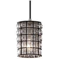 Justice Design Wire Glass Mini 1-Light Pendant in Brushed Nickel WGL-8815-10-GRCB-NCKL