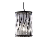 Justice Design Wire Glass Mini 1-Light Pendant in Polished Chrome WGL-8815-10-SWCB-CROM