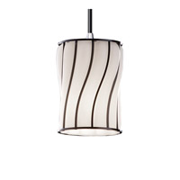 Wire Glass 1 Light 4 inch Polished Chrome Pendant Ceiling Light in Swirl with Opal, Cord