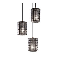Justice Design WGL-8818-10-GRCB-DBRZ Wire Glass 3 Light 4 inch Dark Bronze Pendant Ceiling Light in Grid with Clear Bubbles photo thumbnail