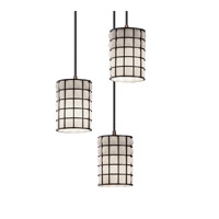 Wire Glass 3 Light 4 inch Dark Bronze Pendant Ceiling Light in Grid with Opal