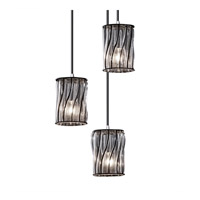 Wire Glass 3 Light Brushed Nickel Pendant Ceiling Light in Swirl with Clear Bubbles