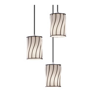 Wire Glass 3 Light Brushed Nickel Pendant Ceiling Light in Swirl with Opal