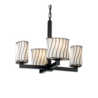 Justice Design Wire Glass Modular 4-Light Chandelier in Matte Black WGL-8829-30-SWOP-MBLK