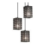 Signature 3 Light 4 inch Dark Bronze Pendant Ceiling Light in Grid with Clear Bubbles