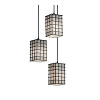 Signature 3 Light Matte Black Pendant Ceiling Light in Grid with Opal