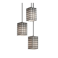 Justice Design Signature 3 Light Pendant in Brushed Nickel WGL-8864-15-GROP-NCKL