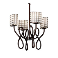 Justice Design Wire Glass Capellini 4-Light Chandelier in Dark Bronze WGL-8910-30-GROP-DBRZ
