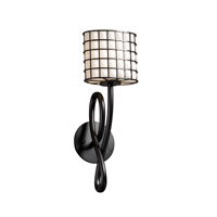 Wire Glass 1 Light 5 inch Matte Black Wall Sconce Wall Light in Grid with Opal, Oval