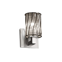Justice Design WGL-8921-10-SWCB-NCKL Wire Glass 1 Light 5 inch Brushed Nickel Wall Sconce Wall Light in Swirl with Clear Bubbles, Cylinder with Flat Rim photo thumbnail